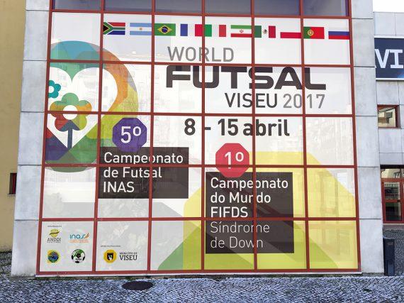 fachada pavilhão mundial futsal INAS FIFDS Volupio publicidade marketing comunicação viseu