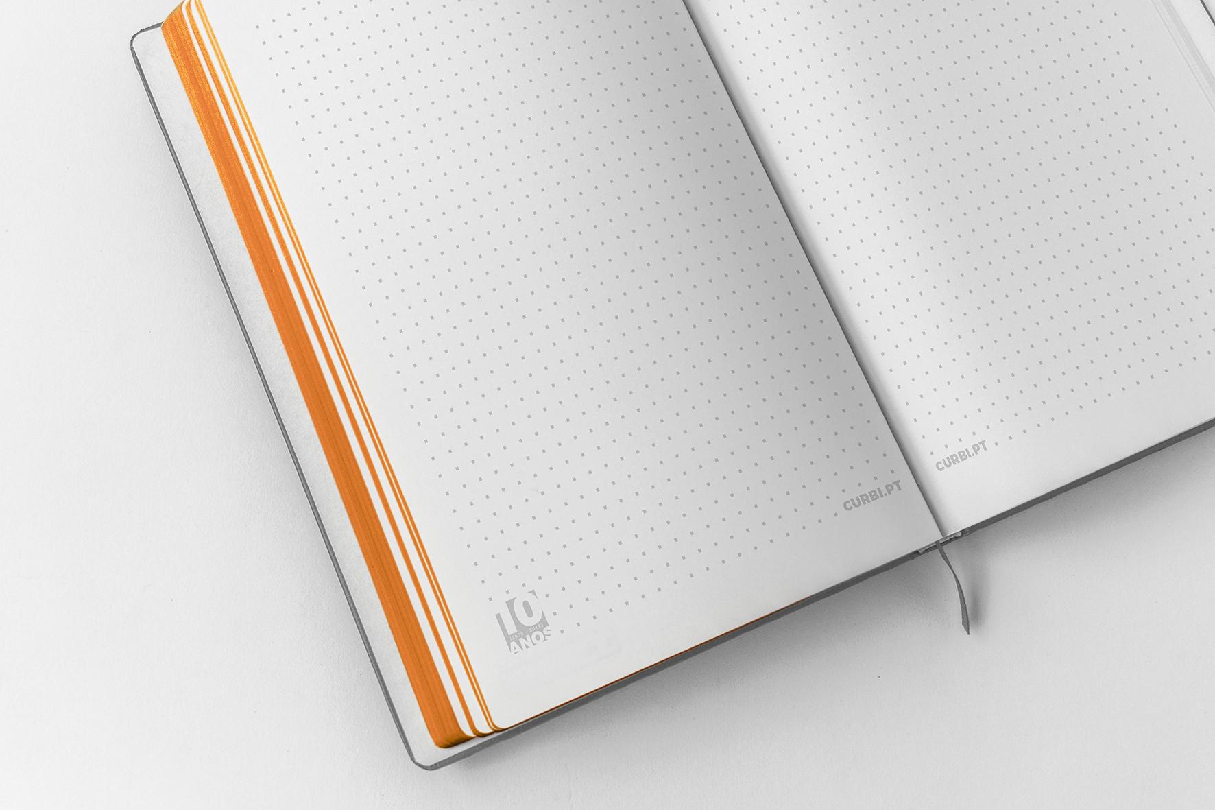 Criação gráfica de cadernos para a empresa Curbi
