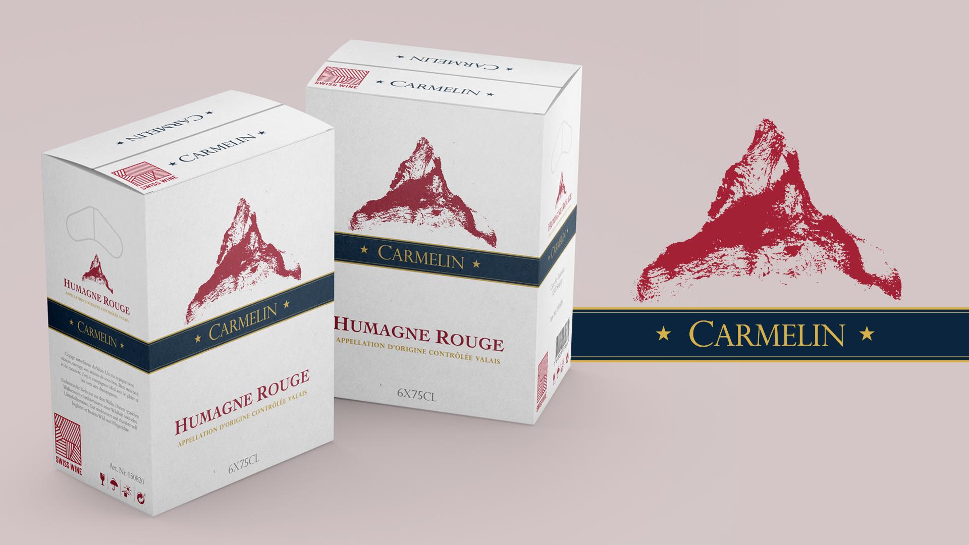 Design gráfico de caixa para o Vinho Carmelin