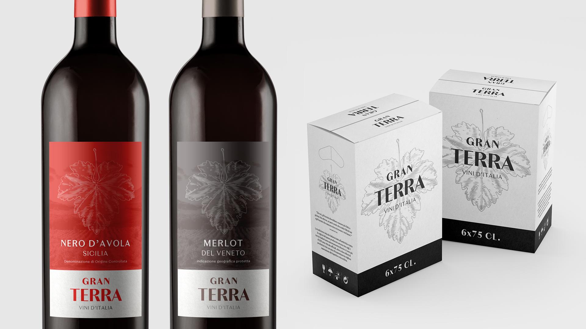 Design de rótulo e caixa para vinho Gran Terra