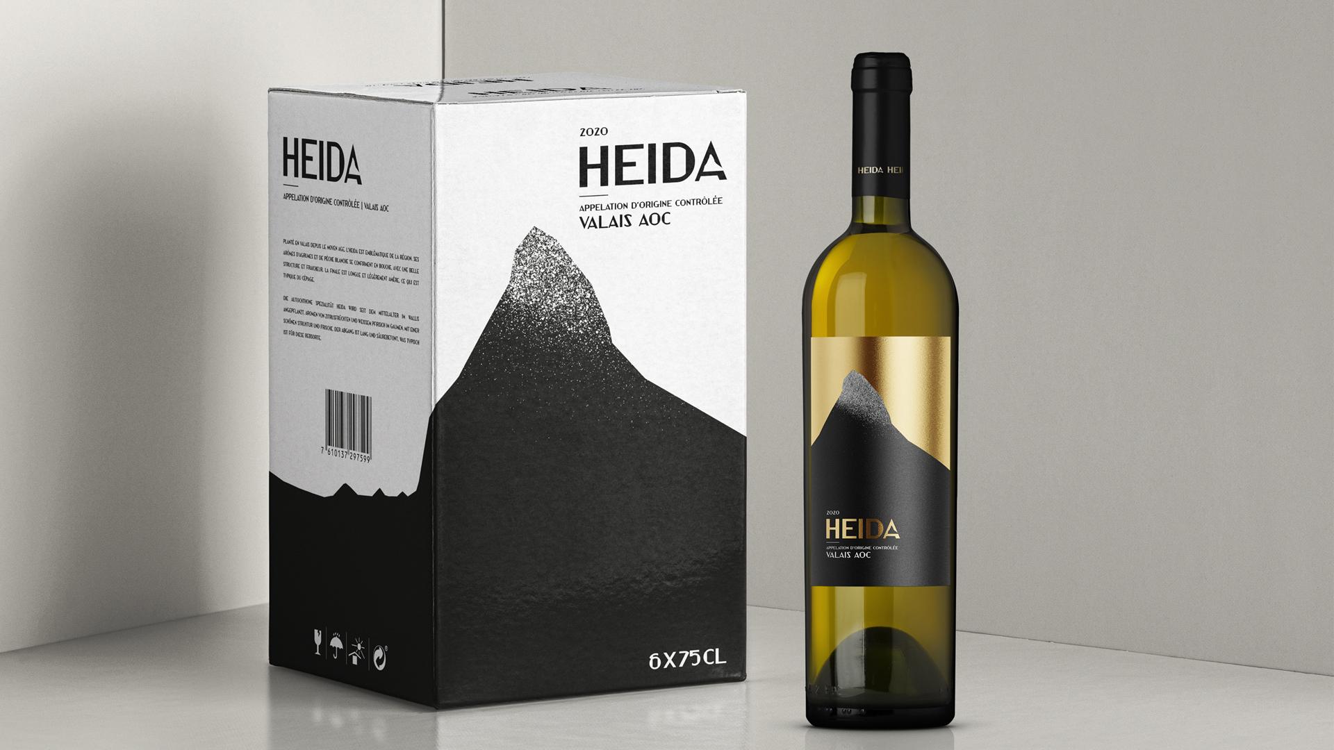 Design de rótulo e caixa para vinho Heida
