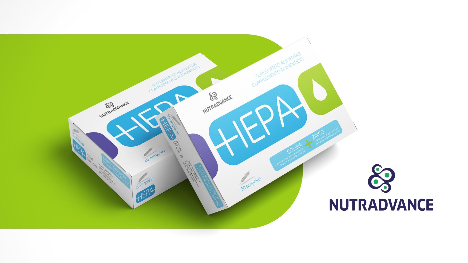 """Design de embalagem para suplemento alimentar """"Hepa"""" da Nutradvance"""